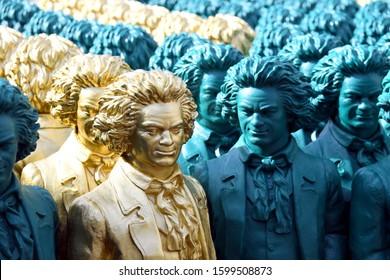 Bonn, North Rhine-Westphalia / Germany - May 14, 2019: Beethoven Sculptures of artist Ottmar Hoerl in Bonn, Münsterplatz, Germany - Ludwig van Beethoven was a German Composer and pianist