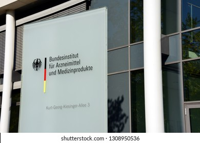 Bonn, North Rhine-Westphalia / Germany - September 25, 2018: Sign at the entrance to Federal Institute for Drugs and Medical Devices in Bonn, Germany - BfArM is a medical regulatory body in Germany