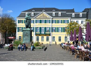 Bonn, North Rhine-Westphalia / Germany - September 25, 2018: Beethoven Monument in Bonn, Münsterplatz, Germany - Ludwig van Beethoven was a German Composer and pianist