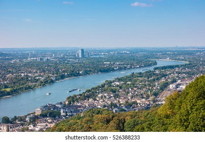 Bonn at the rhine river view from the Drachenfels, Germany