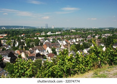 Bonn and River Rhine viewed from Oberdollendorf