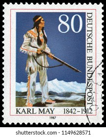 Bonn, West Germany - Feb. 12, 1987: Karl Friedrich May (1842-1912), German writer best known for his adventure novels set in the American Old West. Stamp issued by West German Post in 1978.