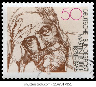 Bonn, West Germany - Feb. 16, 1978: Martin Buber(1878-1965), Austrian-born Israeli Jewish Writer and Philosopher. Stamp issued by West Germany Post in 1978.