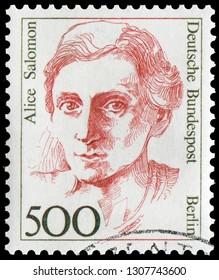 Bonn, West Germany - Jan. 12, 1989: Alice Salomon (1872-1948), German social reformer and pioneer of social work as an academic discipline. Stamp issued by German Post in 1989.