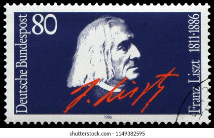 Bonn, West Germany - June 20, 1986: Franz Liszt (1811-1886), prolific Hungarian composer, virtuoso pianist, conductor, philanthropist. Stamp issued by French Post in 1986.