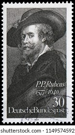 Bonn, West Germany - May 17, 1977: Sir Peter Paul Rubens (1577-1640), Flemish painter and artist. The most influential artist of Flemish Baroque tradition. Stamp issued by German Post in 1977.