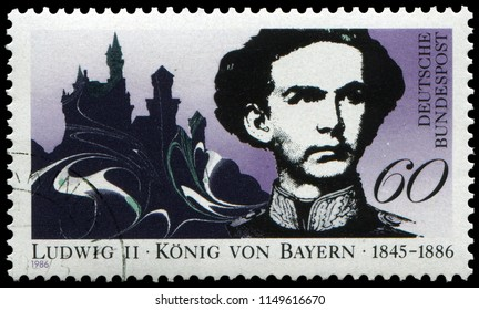 Bonn, West Germany - May 5, 1986: King Ludwig II of Bavaria (1845-1886),King of Bavaria from 1864 until his death in 1886, with nick names Swan King, Mad King Ludwig or the Fairy Tale King.