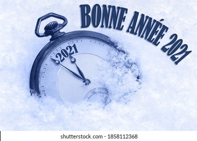 Bonne Annee, Happy New Year 2021 greeting in French language, text, greeting card 2021, countdown to midnight