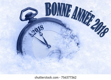 Bonne Annee, Happy New Year 2018 greeting in French language, text, greeting card 2018