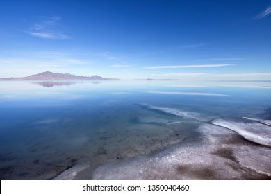 Bonneville Salt Flats covered with water in winter time near Great Salt Lake, Utah