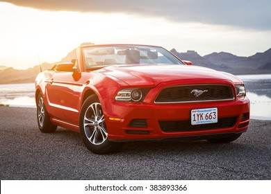 BONNEVILLE ,UTAH, USA JUNE 4, 2015: Photo of a  Ford Mustang Convertible 2012 version at Bonneville Salt Flats,Utah, USA. The fifth generation began with the 2005 model year to 2014.