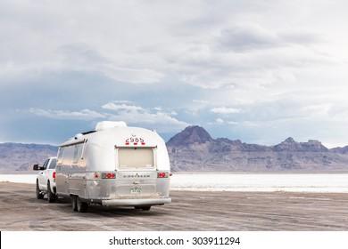 Bonneville, Utah, USA-August 3, 2015. Summer evening at Bonneville Salt Flats, Utah.