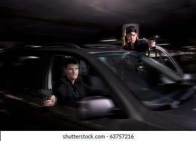 Bonnie and Clyde involved with a shootout in a parking lot
