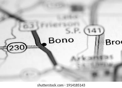 Bono. Arkansas. USA on a geography map