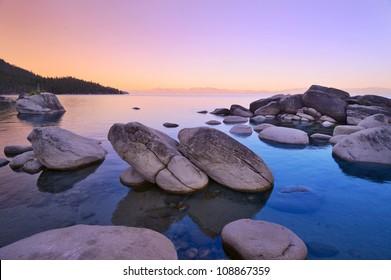 Bonsai rock at Lake Tahoe, dawn July 4th, 2012.