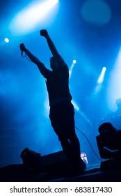BONTIDA, ROMANIA - JULY 16, 2017: German digital hardcore band, Atari Teenage Riot performing a live concert at Electric Castle festival