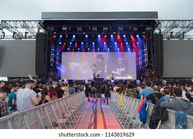 BONTIDA, ROMANIA - JULY 18, 2018: American Hip hop band Delinquent Habits singing live during a concert at Electric Castle festival