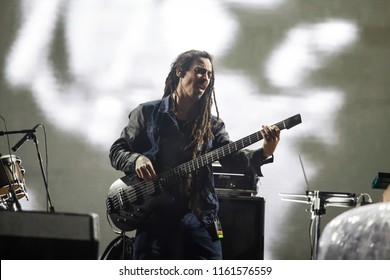 "Bontida, Romania - July 18, 2018: Jamaican reggae artist Damian  ""Jr. Gong""  Marley, son of Bob Marley, performing live on the main stage at Electric Castle festival."