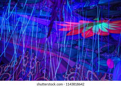 BONTIDA, ROMANIA - JULY 19, 2018: People clubbing at the Elrow, the biggest party concept in the Wolrd at Electric Castle festival