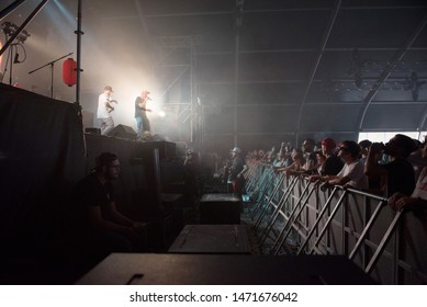 BONTIDA, ROMANIA - JULY 19, 2019: Chinese man collective French trip hop band performing a live concert on the stage at Electric Castle festival