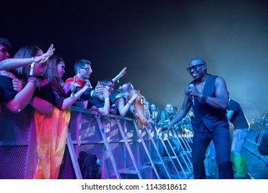 BONTIDA, ROMANIA - JULY 20, 2018: Disco music legend Haddaway singing during the Electric Castle festival