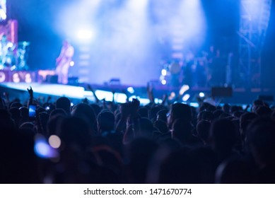 BONTIDA, ROMANIA - JULY 20, 2019: Crowd of people partying during a Bring me the Horizon live rock concert at Electric Castle festival
