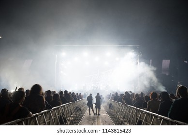 BONTIDA, ROMANIA - JULY 21, 2018: Crowd of partying people enjoying a The Bloody Beetroots live concert at Electric Castle festival