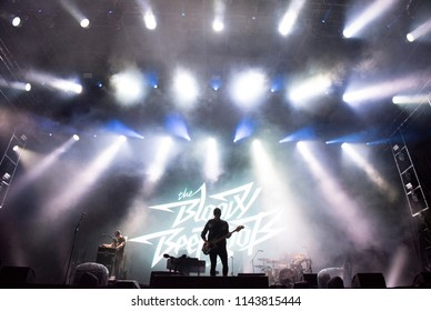 BONTIDA, ROMANIA - JULY 21, 2018: Italian electronic dance music and punk rock group, The Bloody Beetroots performing live at Electric Castle festival