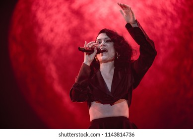 BONTIDA, ROMANIA - JULY 22, 2018: Singer Jessie J and her band performing live on the Main Stage of Electric Castle festival