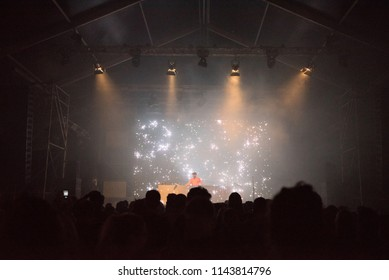 BONTIDA, ROMANIA - JULY 22, 2018: Dutch musician and Dj San Holo performing live at Electric Castle festival