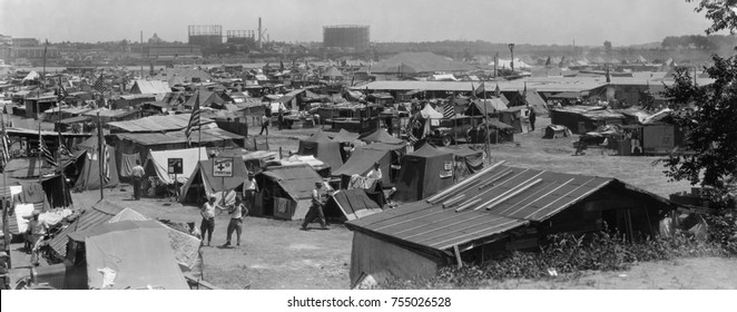 Bonus Army shacks at Anacostia Flats, Washington, D.C. July 1932. These are encampments of the 45th and 47th 'Bonus Expeditionary Forces' which include tents, shacks, and cars.