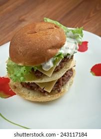 Bonus Jack - american burger. hamburger sold by the fast-food restaurant chain Jack in the Box.