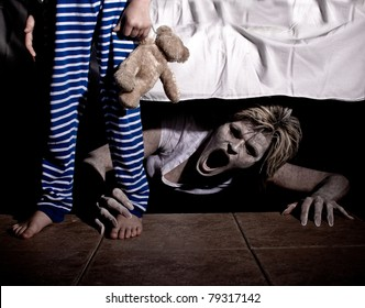 Boogie Man under the Bed Scaring a Young Child