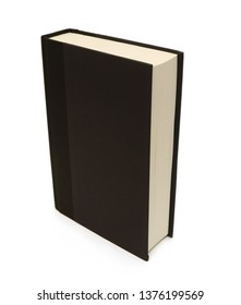 Book with black cover on white background.