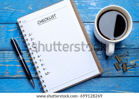 book blank checklist coffee cookies on stock photo edit now