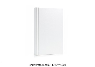 Book with blank cover perched vertically isolated on white background