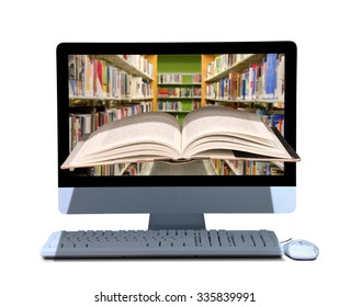 A book coming out of a computer with library on the screen of the computer representing online library, school, manual, instruction, e-book, research, search, dictionary, thesaurus and encyclopedia.