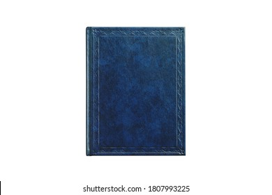 book with cover blue color isolated on white background, top view close-up