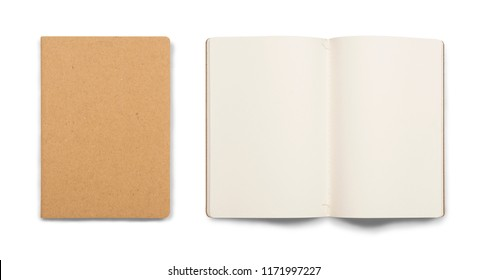 Book cover and open blank book with white sheet isolated over white background