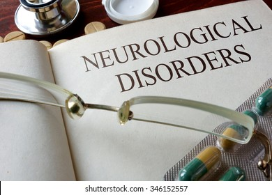 Book with diagnosis neurological disorders. Medical concept.