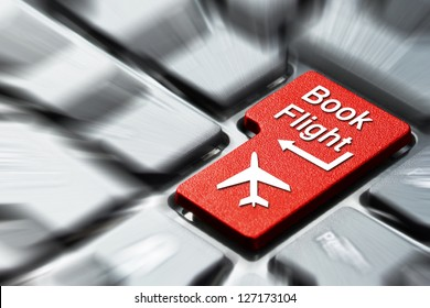 Book flight button on the computer keyboard