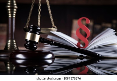 Book, Gavel, Mallet of justice concept