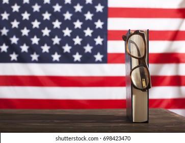 Book. Glasses