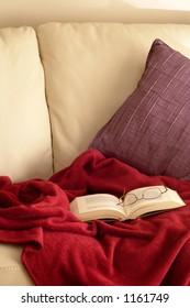 Book, glasses, blanket and sofa