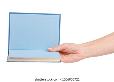 Book in hand on white background isolation
