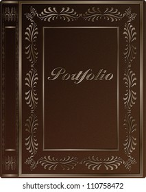 A book hard cover with a word portfolio engraved on it / Portfolio