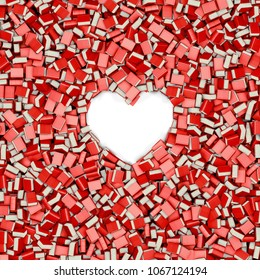 Book heart frame / 3D illustration of hundreds of thick bound books surrounding heart shaped empty space