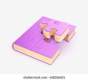 Book, a learning concept, a book from a puzzle. 3d illustration