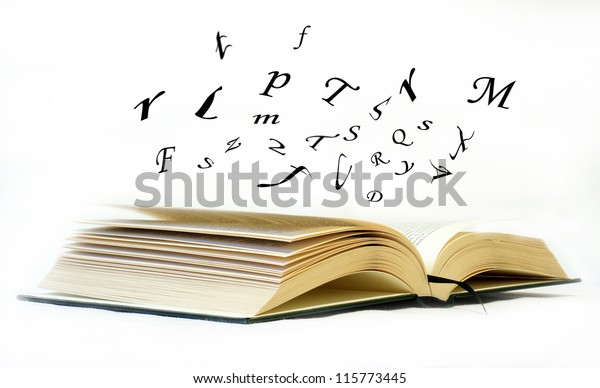 Book with letters flying out of it