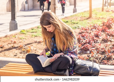 A book lover reading her favorite novel on a sunny day in the park